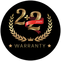 2 YEARS WARRANTY ON ALL PARTS & LABOUR EXTRA 2 YEARS WARRANTY ON PARTS WHEN YOU REGISTER WITH US ONLINE
